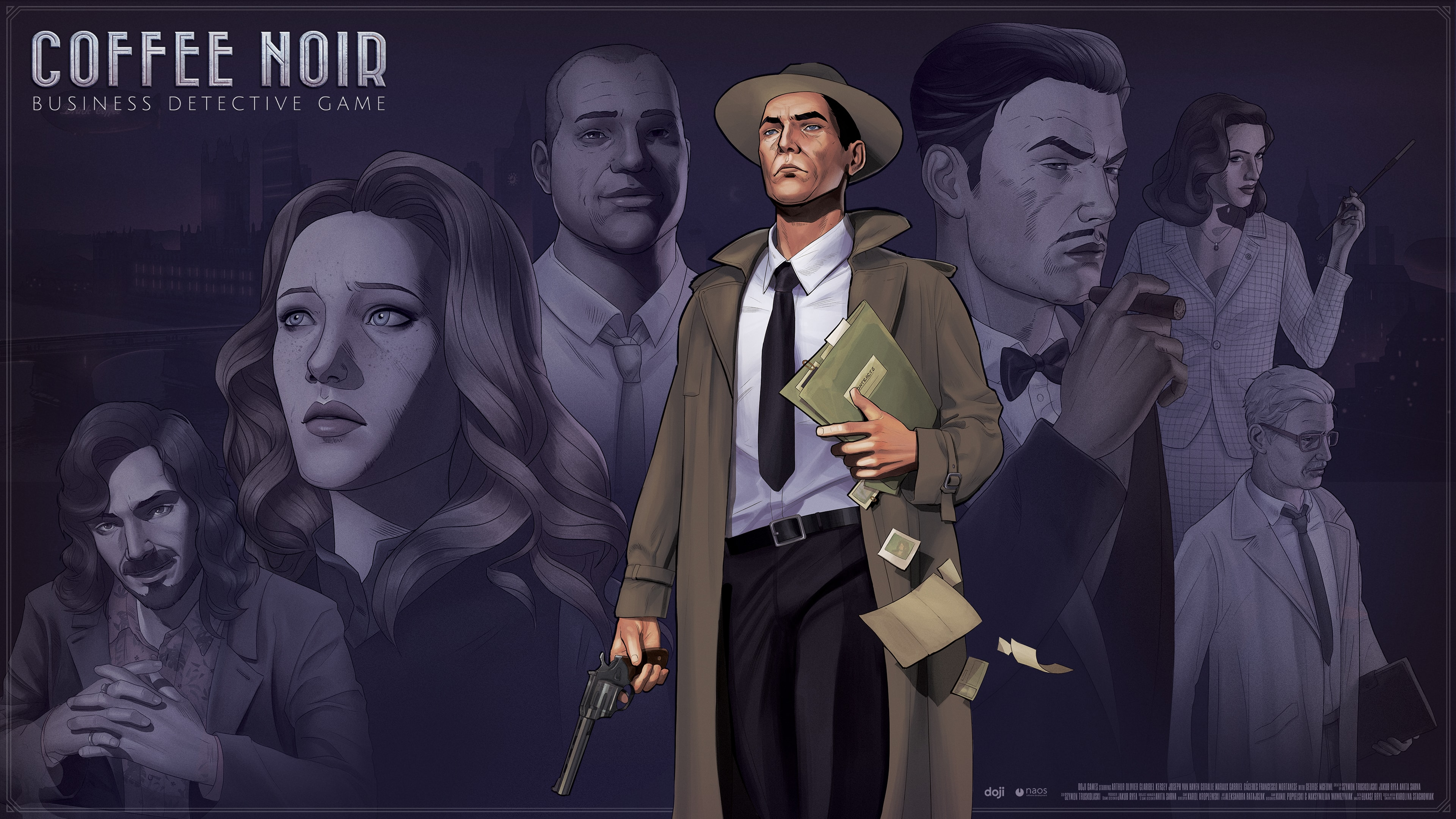 Promotional image with Arthur standing in the front and several characters in the back. A logo Coffee Noir: Detective Business Game is placed to the left.