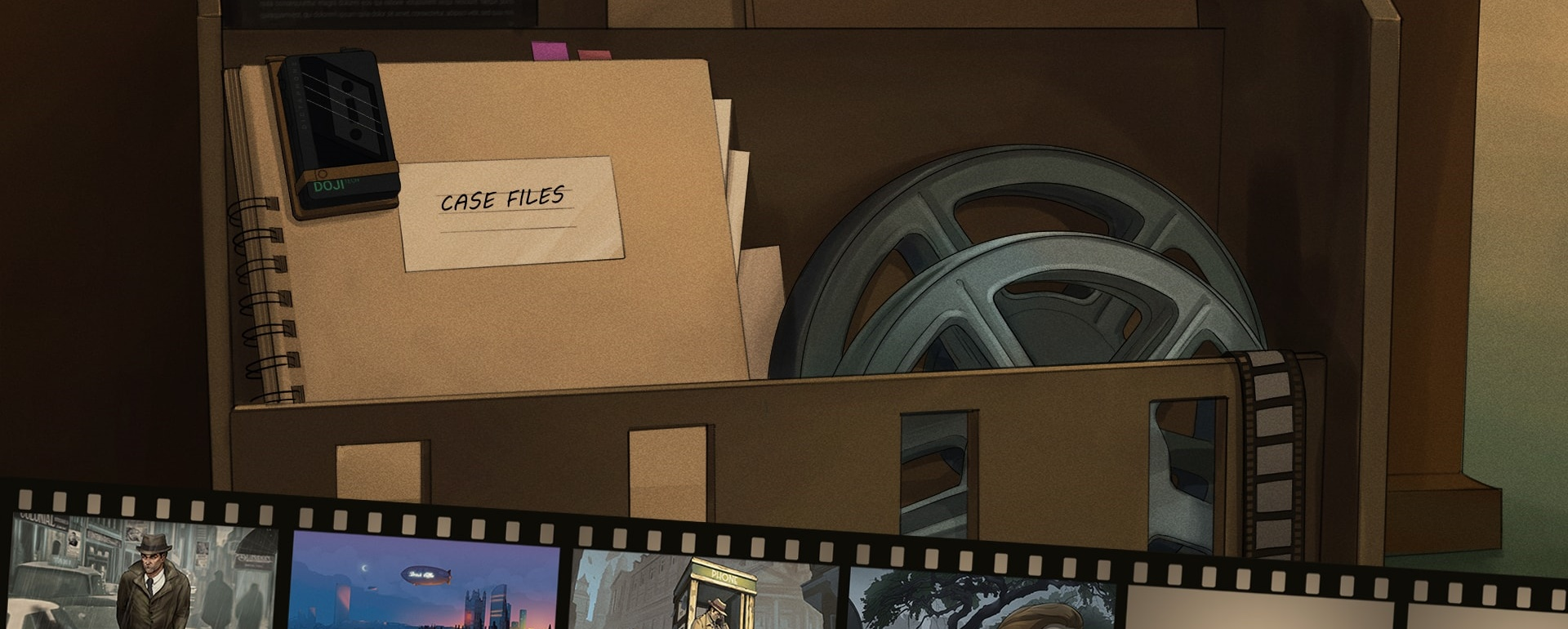 """A screenshot of the Comic Bank UI. It shows a folder with text """"case files"""" on it, it has an attached casette with """"doji"""" written on it, and a film spool, below there's a number of scenes on a film reel to choose from."""