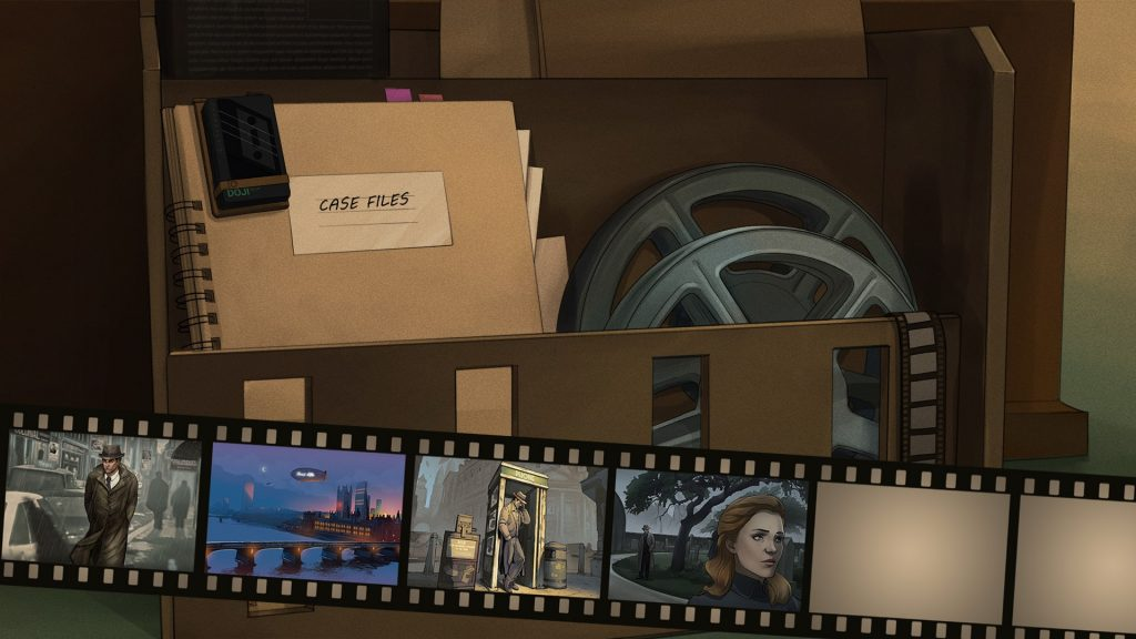 A screenshot of the Comic Bank UI. It shows a folder and a film spool, below there's a number of scenes on a film reel to choose from.