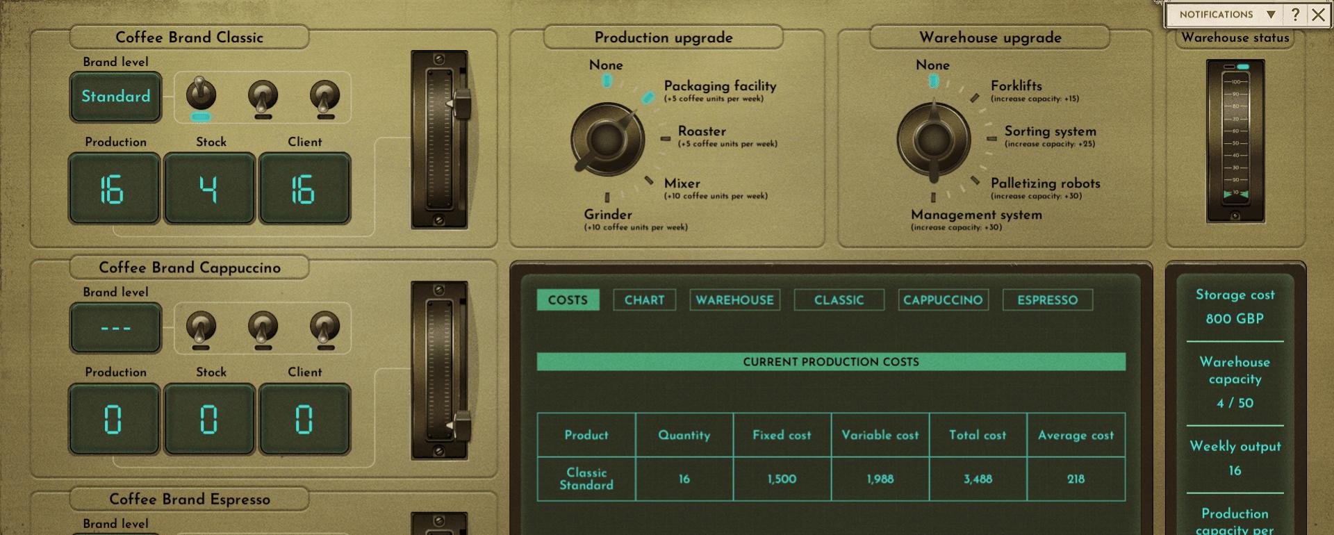 A screenshot of the Production UI.