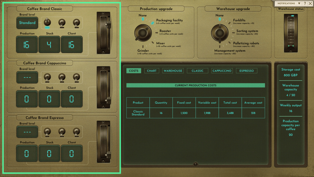 A screenshot of the Production UI with highlighted part on the left where you can manage production numbers